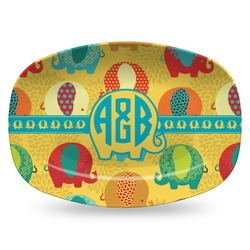 Cute Elephants Plastic Platter - Microwave & Oven Safe Composite Polymer (Personalized)