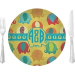 """Cute Elephants Glass Lunch / Dinner Plates 10"""" - Single or Set (Personalized)"""