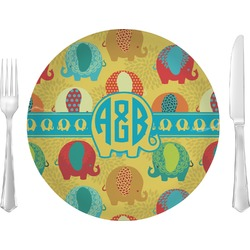 "Cute Elephants Glass Lunch / Dinner Plates 10"" - Single or Set (Personalized)"