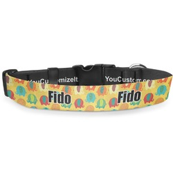 """Cute Elephants Deluxe Dog Collar - Extra Large (16"""" to 27"""") (Personalized)"""
