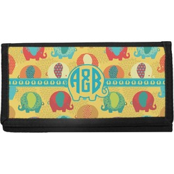 Cute Elephants Canvas Checkbook Cover (Personalized)