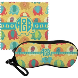 Cute Elephants Eyeglass Case & Cloth (Personalized)