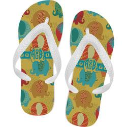 Cute Elephants Flip Flops (Personalized)