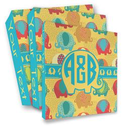 Cute Elephants 3 Ring Binder - Full Wrap (Personalized)