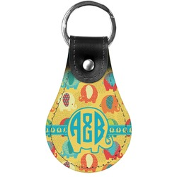 Cute Elephants Genuine Leather  Keychain (Personalized)