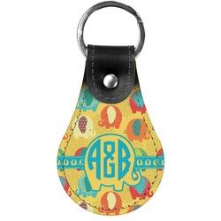 Cute Elephants Genuine Leather  Keychains (Personalized)