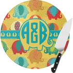 Cute Elephants Round Glass Cutting Board (Personalized)