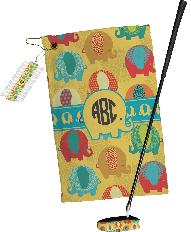 Cute Elephants Golf Towel Gift Set Personalized