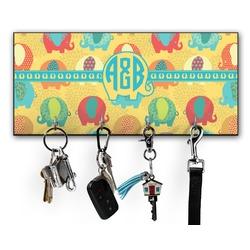 Cute Elephants Key Hanger w/ 4 Hooks (Personalized)