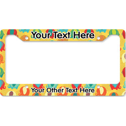 Cute Elephants License Plate Frame - Style B (Personalized)