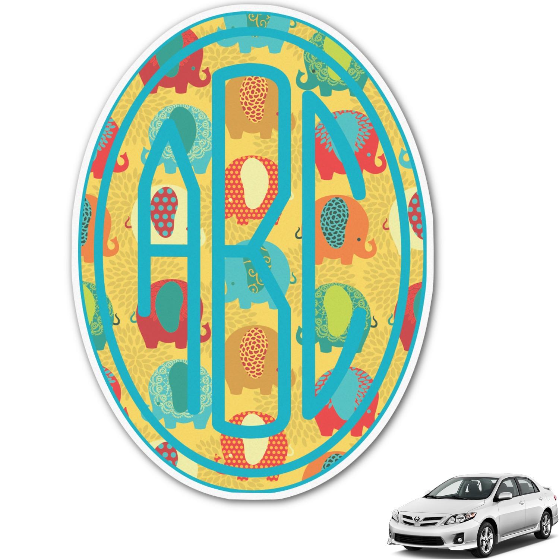 Cute Elephants Monogram Car Decal Personalized YouCustomizeIt - Elephant monogram car decal