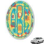 Cute Elephants Monogram Car Decal (Personalized)