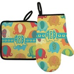 Cute Elephants Oven Mitt & Pot Holder (Personalized)
