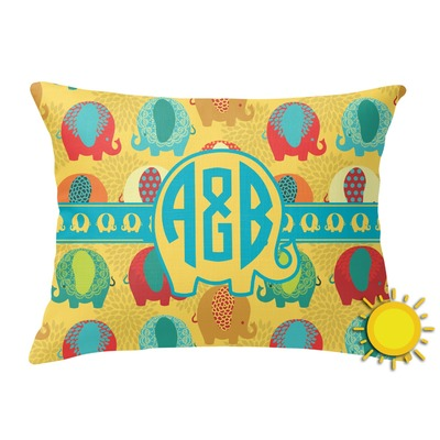 Cute Elephants Outdoor Throw Pillow (Rectangular) (Personalized)