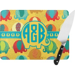 Cute Elephants Rectangular Glass Cutting Board (Personalized)