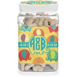 Cute Elephants Pet Treat Jar (Personalized)