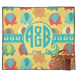 Cute Elephants Outdoor Picnic Blanket (Personalized)