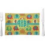 Cute Elephants Glass Rectangular Lunch / Dinner Plate - Single or Set (Personalized)