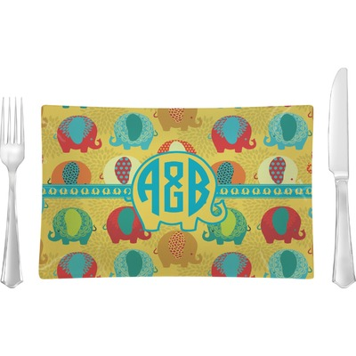 Cute Elephants Rectangular Glass Lunch / Dinner Plate - Single or Set (Personalized)