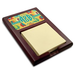 Cute Elephants Red Mahogany Sticky Note Holder (Personalized)