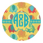 Cute Elephants Round Decal (Personalized)