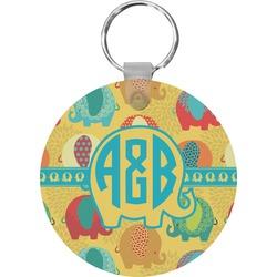 Cute Elephants Round Keychain (Personalized)