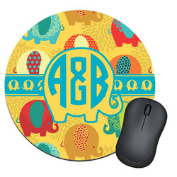 Cute Elephants Round Mouse Pad (Personalized)