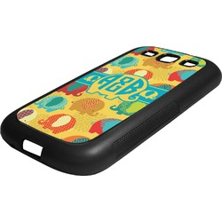 Cute Elephants Rubber Samsung Galaxy 3 Phone Case (Personalized)