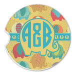 Cute Elephants Sandstone Car Coasters (Personalized)