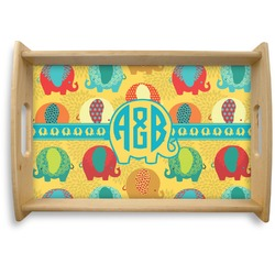 Cute Elephants Natural Wooden Tray (Personalized)
