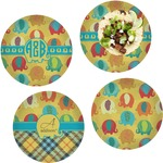 Cute Elephants Set of 4 Lunch / Dinner Plates (Glass) (Personalized)