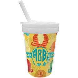 Cute Elephants Sippy Cup with Straw (Personalized)