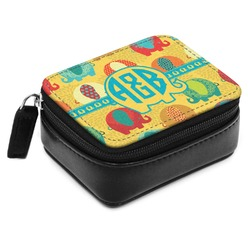 Cute Elephants Small Leatherette Travel Pill Case (Personalized)