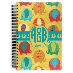 Cute Elephants Spiral Bound Notebook (Personalized)