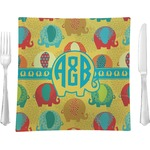 """Cute Elephants Glass Square Lunch / Dinner Plate 9.5"""" - Single or Set of 4 (Personalized)"""