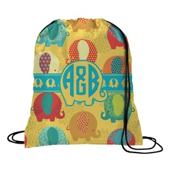 Cute Elephants Drawstring Backpack (Personalized)