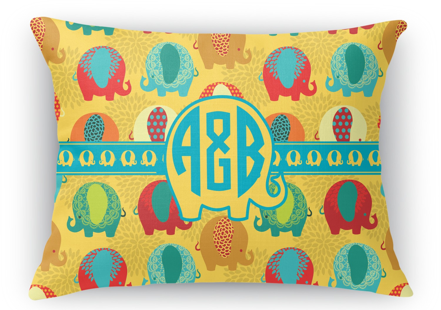 Cute Neutral Throw Pillows : Cute Elephants Rectangular Throw Pillow - 18