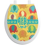 Cute Elephants Toilet Seat Decal (Personalized)