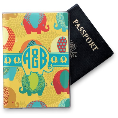 Cute Elephants Vinyl Passport Holder (Personalized)
