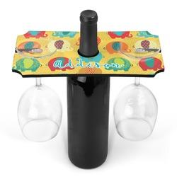 Cute Elephants Wine Bottle & Glass Holder (Personalized)