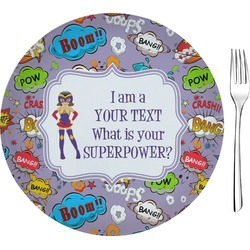 """What is your Superpower 8"""" Glass Appetizer / Dessert Plates - Single or Set (Personalized)"""