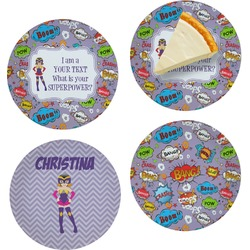 """What is your Superpower Set of 4 Glass Appetizer / Dessert Plate 8"""" (Personalized)"""