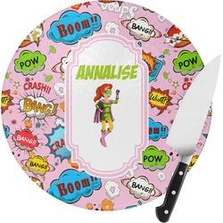Woman Superhero Round Glass Cutting Board - Small (Personalized)