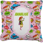 Woman Superhero Faux-Linen Throw Pillow (Personalized)