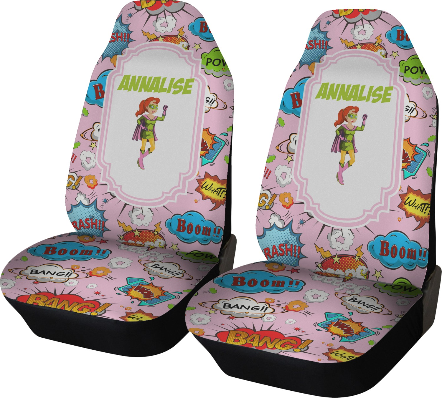 Woman Superhero Car Seat Covers Set Of Two Personalized