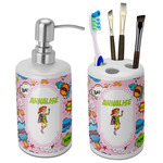 Woman Superhero Bathroom Accessories Set (Ceramic) (Personalized)