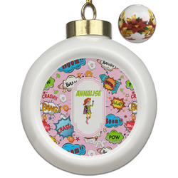 Woman Superhero Ceramic Ball Ornaments - Poinsettia Garland (Personalized)