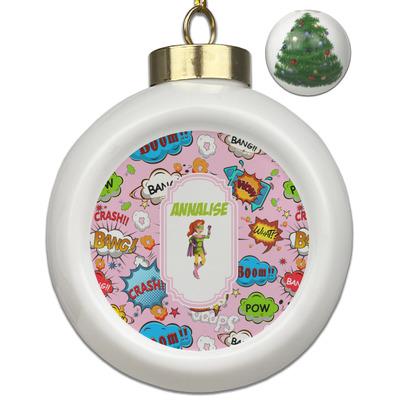 Woman Superhero Ceramic Ball Ornament - Christmas Tree (Personalized)