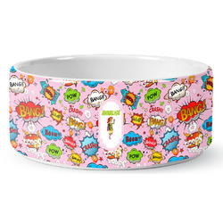 Woman Superhero Ceramic Dog Bowl (Personalized)