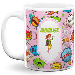 Woman Superhero 11 Oz Coffee Mug - White (Personalized)